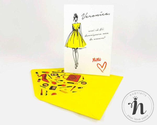 invitatii domnisoare de onoare cu plic galben fashionista - vedere cu plic