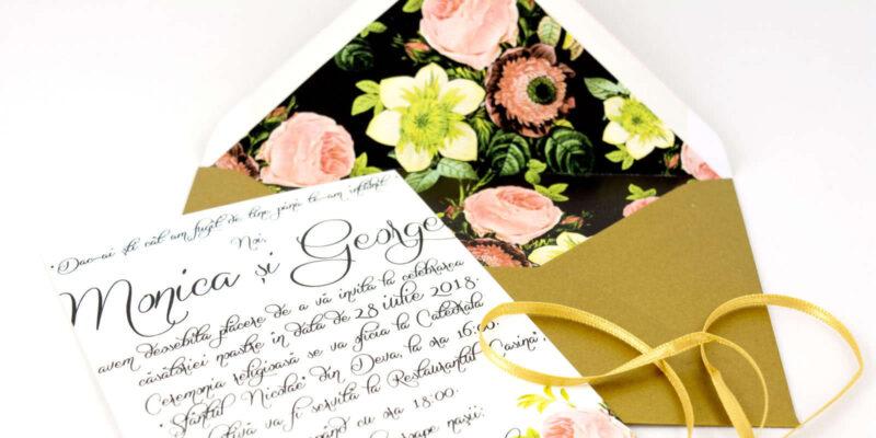 invitatii nunta cu plicuri personalizate cu flori