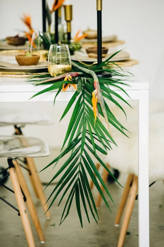 aranjament tropical masa nunta
