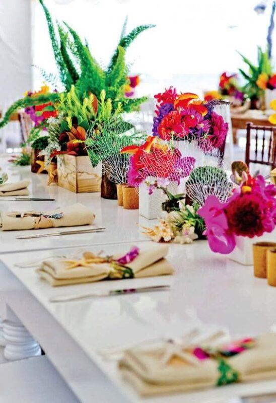 aranjamente florale nunta cu tema tropicala