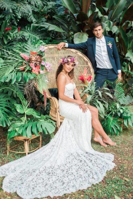 cuplu tematica nunta tropicala