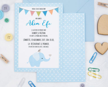 invitatii botez cu elefant baby elephant detaliu text