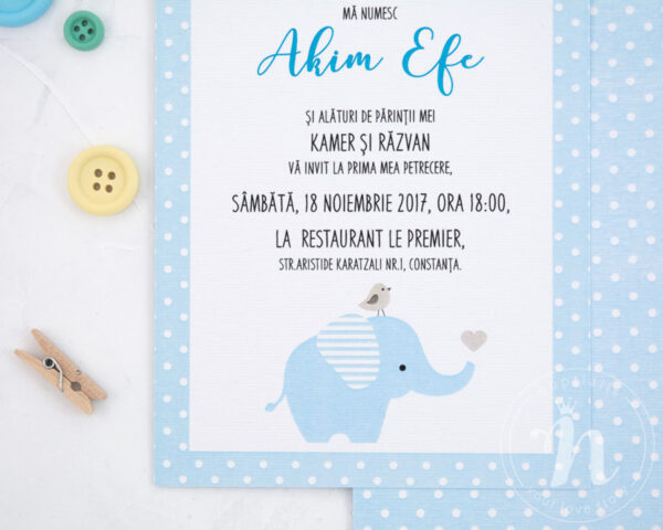 invitatii botez cu elefant baby elephant detaliu text si elefantel