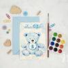 Invitatii botez cu ursulet blue teddy - vedere din fata cu plic