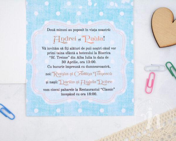 invitatii botez gemeni a perfect pair detaliu text