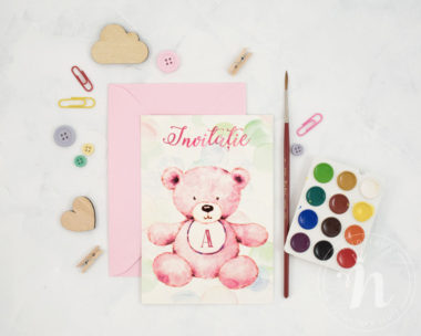 invitatii botez cu ursulet pink teddy - vedere din fata cu plic