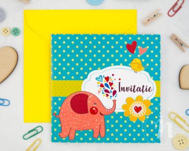 invitatii botez elefantel happy elephant - detaliu fata cu plic