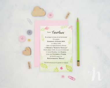 invitatii botez fete sweet baby girl - verso cu plic roz