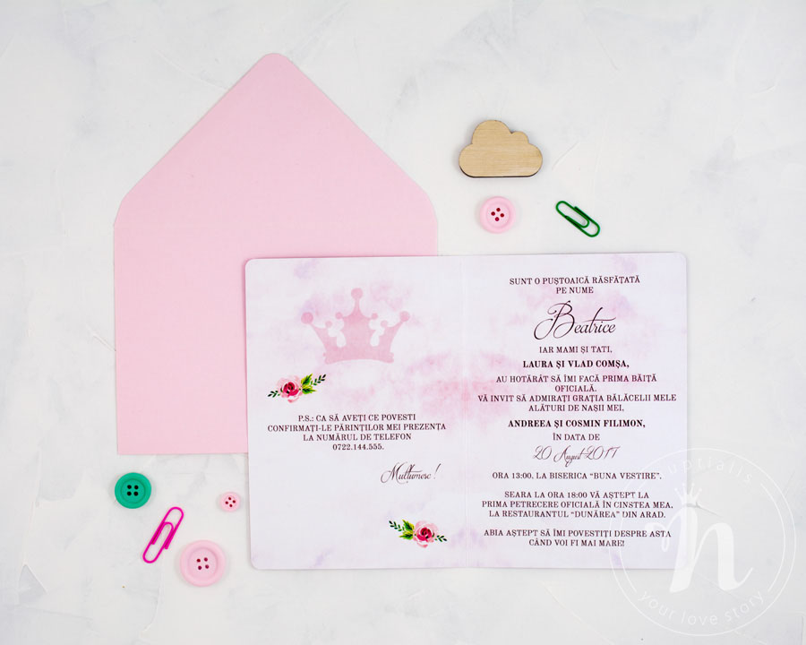 Invitatii Botez Fetita Swan Princess Nuptialisro