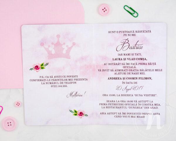 Invitatii botez fetita SWAN PRINCESS - detaliu text
