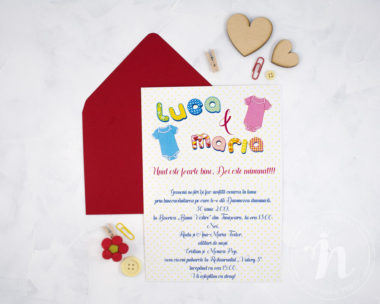 Invitatii botez gemeni TWICE THE JOY - interior