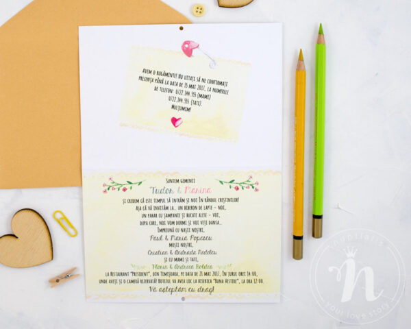 Invitatii botez gemeni TWINS - interior