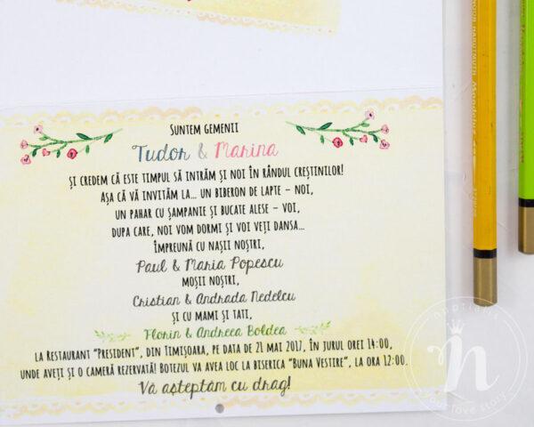 Invitatii botez gemeni TWINS - detaliu text
