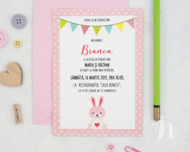 invitatii botez little bunny - detaliu text invitatie