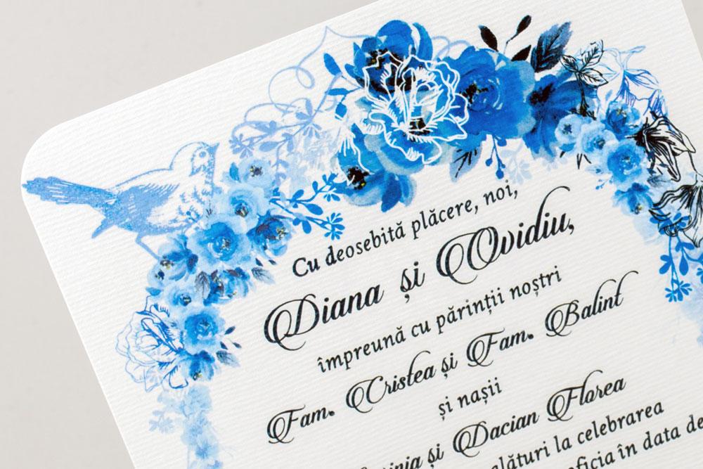 modele invitatii nunta vintage cu flori si pasarele