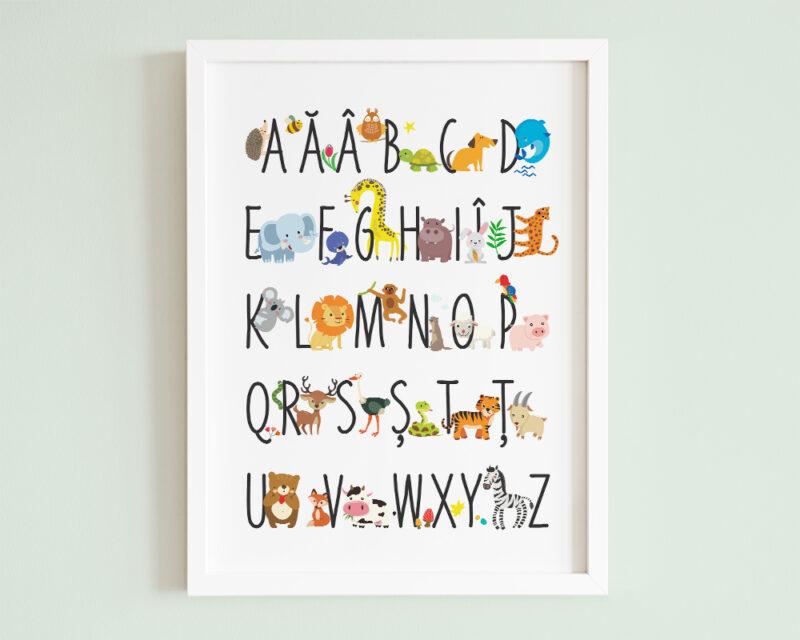 Tablou cu animale Alfabet, animalute pentru fiecare litera a alfabetului.