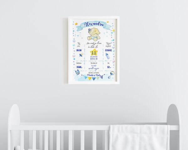 Tablou personalizat bebe Blue Elephant pentru baietel, in nuante de albastru.