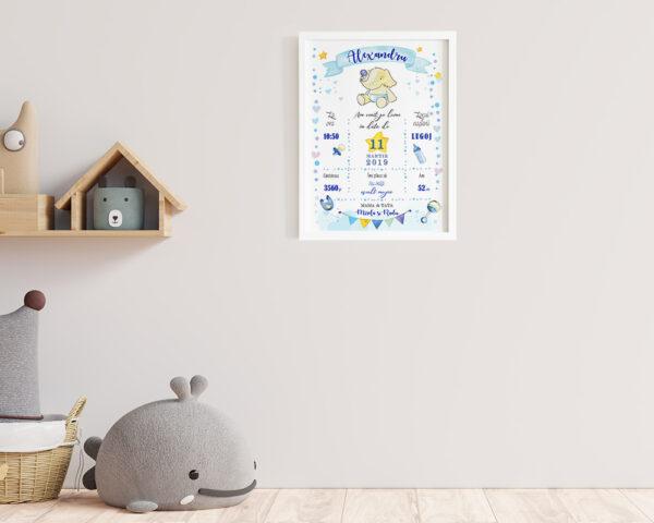 Tablou personalizat bebe cu elefant in nuante de bleu, agatat pe perete in camera copilului.