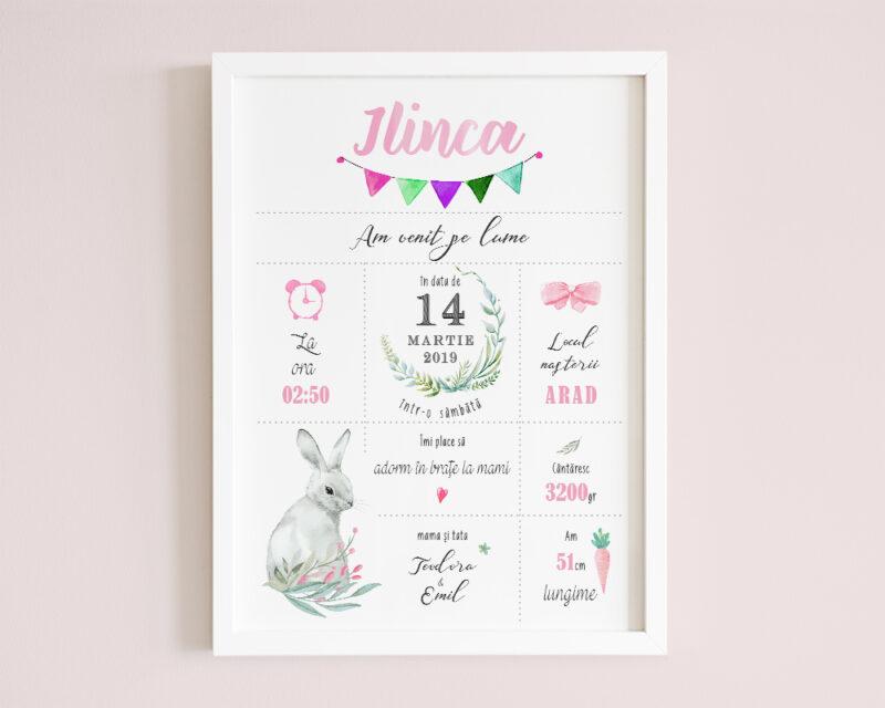 Tablou personalizat bebe Pink Bunny, cu iepuras si nuante de roz pentru o fetita.