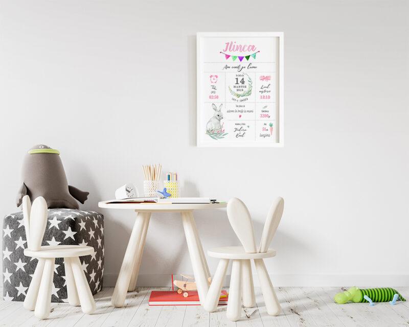 Tablou personalizat pentru nou nascut fetita, print inramat, gata de agatat pe perete.