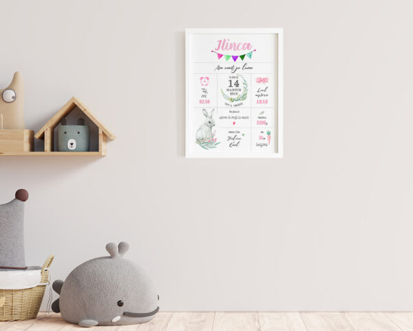 Tablou personalizat pentru nou nascut fetita, agatat pe perete in camera copilului.