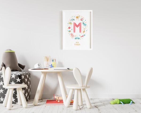 Tablou personalizat pentru camera fetitei cu numele ei, initiala si animale in culori pastel.