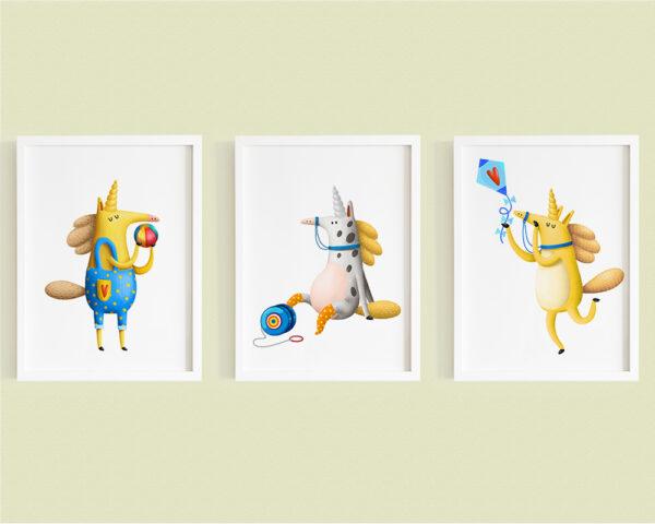 Set 3 tablouri camera copilului cu unicorni colorati si jucausi, rame albe din lemn.
