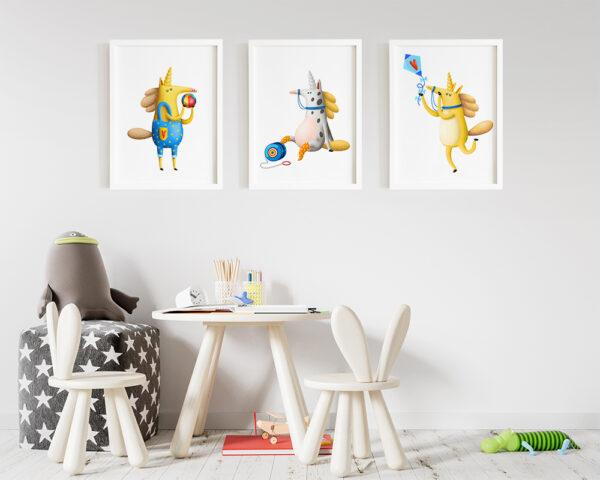 Set 3 tablouri camera copilului cu unicorni, animalute haioase si jucause.