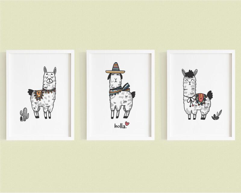 Set 3 tablouri copii cu lame haioase si elemente mexicane pentru camera copilului.