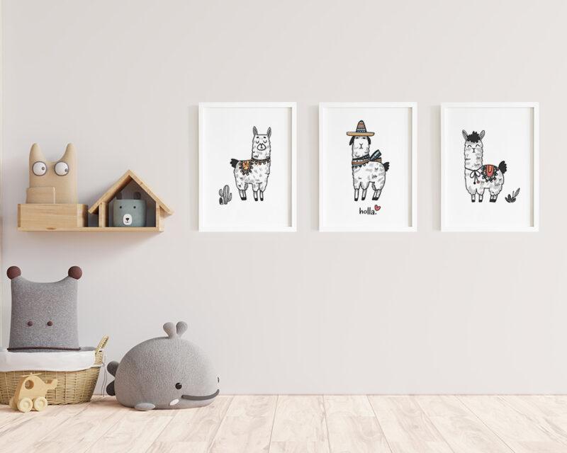 Un set de 3 tablouri moderne pentru camera copilului cu animale haioase.