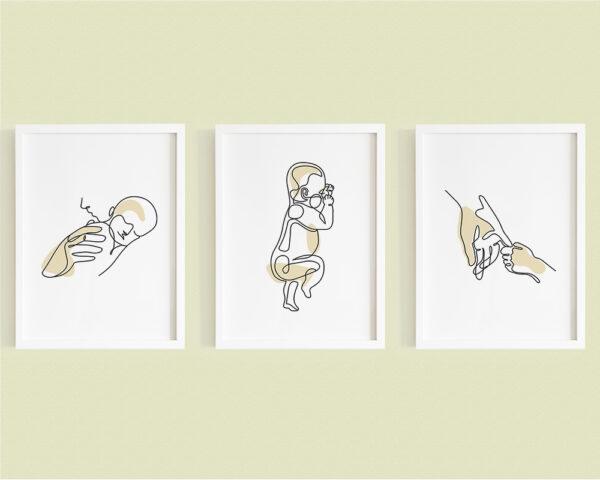 Set 3 tablouri minimaliste mama si copilul nou nascut, pe culoarea bej.