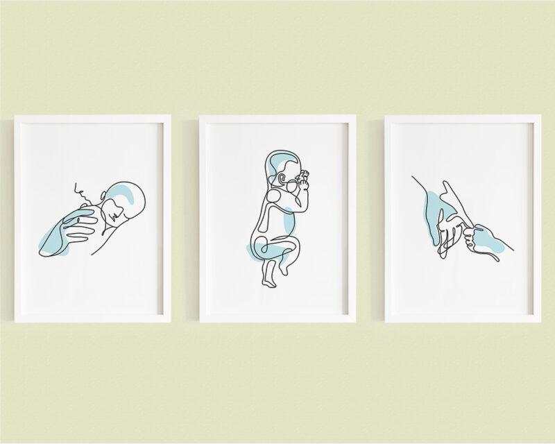 Set de 3 tablouri minimaliste mama si copilul cu silueta nou nascut, pe culoarea bleu.