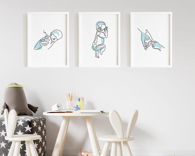 Set de tablouri mama si copilul in stil minimalist, pe culoarea bleu cu rame albe.