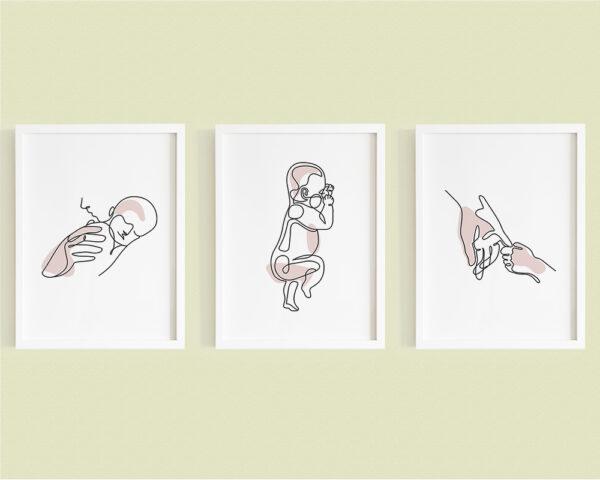 Set de 3 tablouri minimaliste mama si copilul nou nascut, pe culoarea roz.