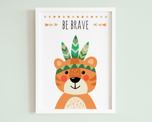 Tablou camera copilului cu mesaj be brave si tigru colorat in stil boho.