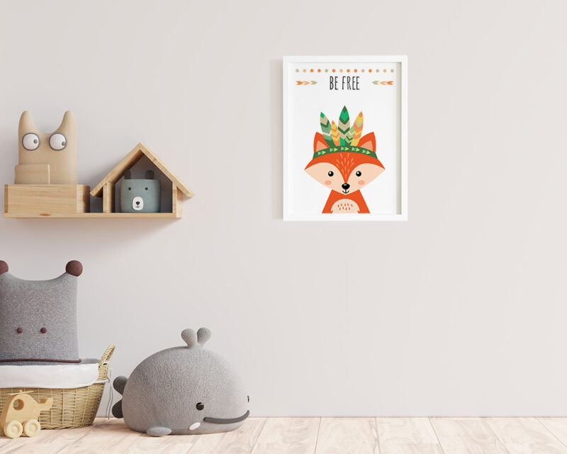 Un tablou pentru camera copilului cu o vulpe haioasa in stil boho.