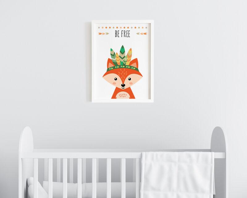 Tablou camera copilului cu vulpe, gata de agatat pe perete in dormitorul bebelusului.