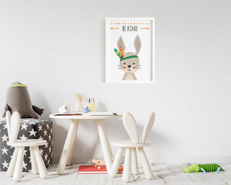 Tablou cu iepuras si mesaj in stil boho pentru camera copilului.