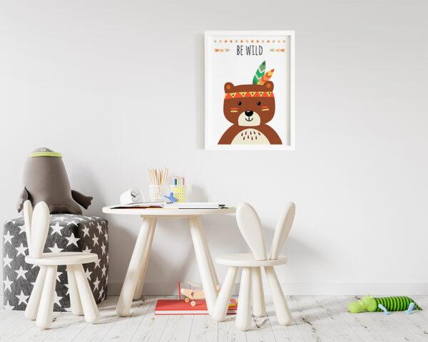 Tablou cu ursulet si mesaj pentru camera copilului.